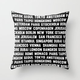 Famous City pattern black & White Throw Pillow