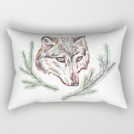 Wolf and Pine Branches Rectangular Pillow