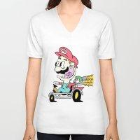 mario kart V-neck T-shirts featuring Mario Kart by Le Hamburger