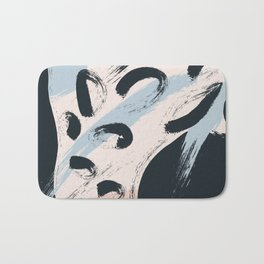 Modern abstract black ivory blush blue brushstrokes Bath Mat