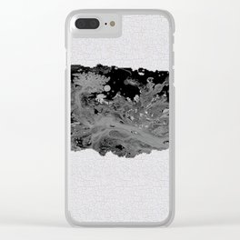 Black and White Art Puerto Rico Map Clear iPhone Case