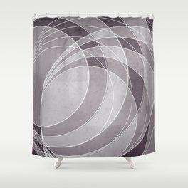 Orbiting Circle Design in Aubergine Shower Curtain