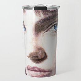 Barbara Palvin Watercolor with Pink Hair Travel Mug