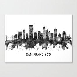 San Francisco California Skyline BW Canvas Print