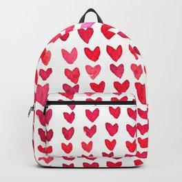 Brush stroke hearts - red Backpack