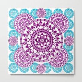 Teal and Purple Patterned Mandalas Metal Print