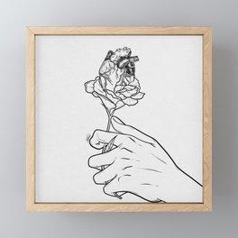 Flowery heart given. Framed Mini Art Print