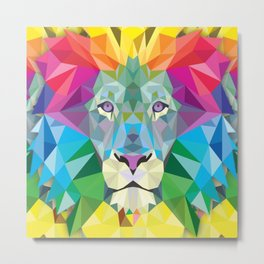 Geometric Rainbow Lion Metal Print