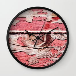 Two Red Wooden Planks, Wooden Knot, Used, Grunge Texture Of Pattern Wall Clock