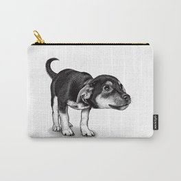 Cute cautious puppy wagging it's tail. Carry-All Pouch