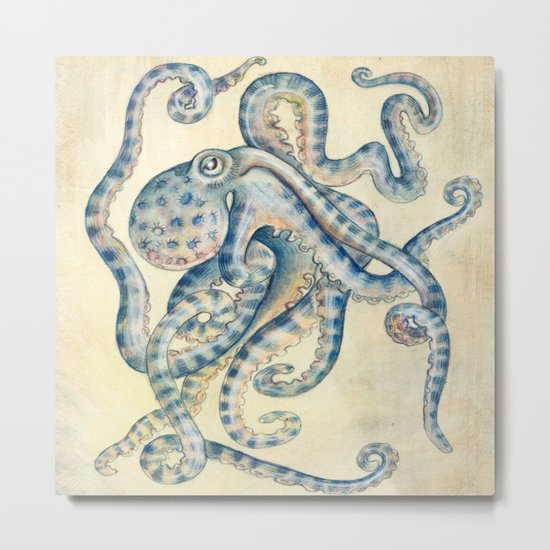 Blue Octopus Metal Print