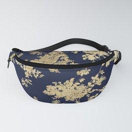 Elegant vintage navy blue faux gold flowers Fanny Pack