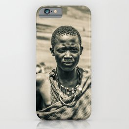 4300 Portrait of Young Maasai Tanzania East Africa iPhone Case