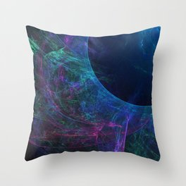 Abstract colorful shiny print graphic with planet space Throw Pillow