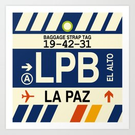 LPB La Paz • Airport Code and Vintage Baggage Tag Design Art Print