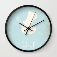 chef Wall Clocks featuring Chef by S. Vaeth