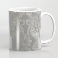 damask Mugs featuring Grunge Damask by cafelab