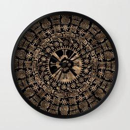 Hunab Ku Gold on black #4 Wall Clock