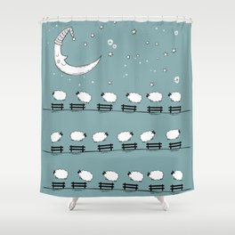 Counting Sheep II: Sheep Jumping Over Fences Shower Curtain