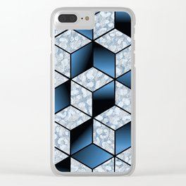 Abstract Blue Cubic Effect Design Clear iPhone Case