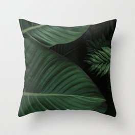 Tropical Beauty // Tropical Boho Leaves meets Minimalist Patterns Throw Pillow