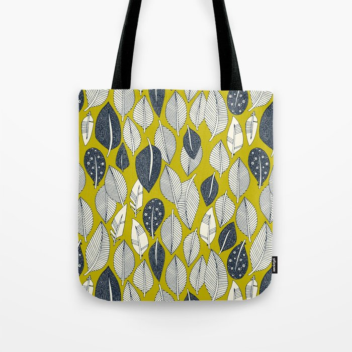 leaves and feathers chartreuse Tote Bag