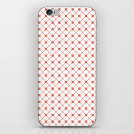 Pantone Living Coral Thin Line Stripe Grid (Pinstripe) and Polka Dots on White iPhone Skin