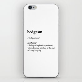 Bedgasm black and white contemporary minimalism typography design home wall decor bedroom iPhone Skin