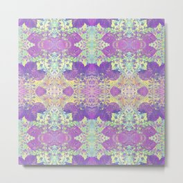 Spring Chinoiserie Stencil Pattern Lilac Purple Mint Green   Delicate Floral Asian Inspired Metal Print