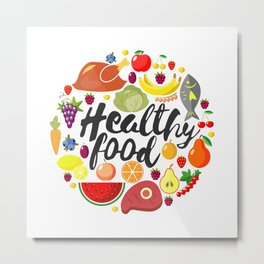 Round frame from foodftuffs. Healthy food. Flat. Fresh product. World Health Day. Lettering. Metal Print