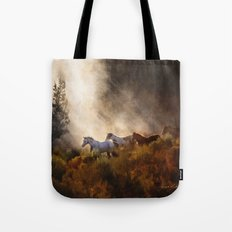 Horses in a Golden Meadow by Georgia M Baker Tote Bag