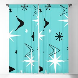 Vintage 1950s Boomerangs and Stars Turquoise Blackout Curtain