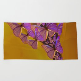 Shiny Purple Butterflies On A Ocher Color Background #decor #society6 Beach Towel