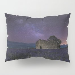 Stars France Valensole Nature Sky Ruins Fields Lavandula Night lavender night time Pillow Sham