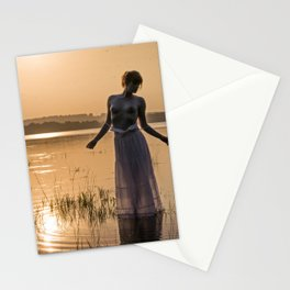 Topless Female Model At Sunset Stationery Cards