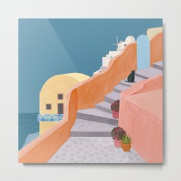 Santorini Pebble Stairs and Houses Metal Print
