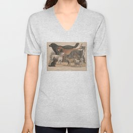 Vintage Dog Breeds Illustration (1874) Unisex V-Neck