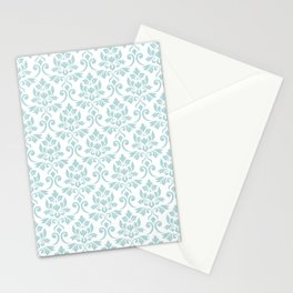 Feuille Damask Pattern Duck Egg Blue on White Stationery Cards