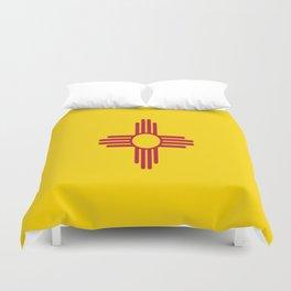 flag new mexico-usa,america,sun,Zia Sun symbol,New Mexican,Albuquerque,Las Cruces,santa fe,roswell Duvet Cover