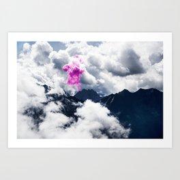 Smoke signal from mountains amongst clouds Art Print