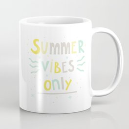 Summer Vibes Only - handlettering quote design in pastel colors palette for T-shirts and other stuff Coffee Mug