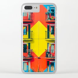 APARTMENTS - BLUE - RED - YELLOW - BALCONIES - PHOTOGRAPHY Clear iPhone Case