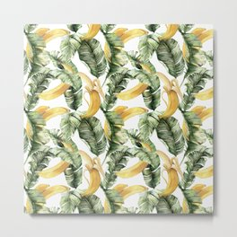 Summer seamless tropical pattern with banana palm leaves and banana fruits. Tropical botanical print. Jungle print. Floral background. Exotic leaves and fruits. Tropics. Summertime Metal Print