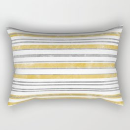 Sun Kissed Stripes: Silver and Gold Rectangular Pillow
