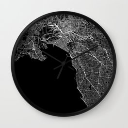 Melbourne Black Map Wall Clock