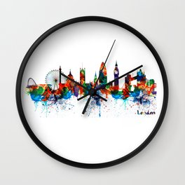 London Watercolor Skyline Silhouette Wall Clock