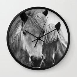 Horses - Black & White 7 Wall Clock