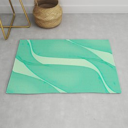 Abstract flowing ribbons in mint green Rug