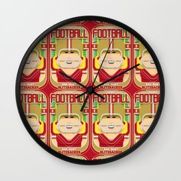 American Football Red and Gold - Hail-Mary Blitzsacker - Hazel version Wall Clock