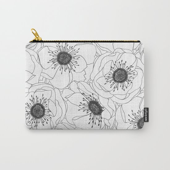 White Anemones Carry-All Pouch
